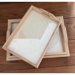 Bandeja de madera con cristal