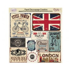 Papel Decoupage etiquetas London