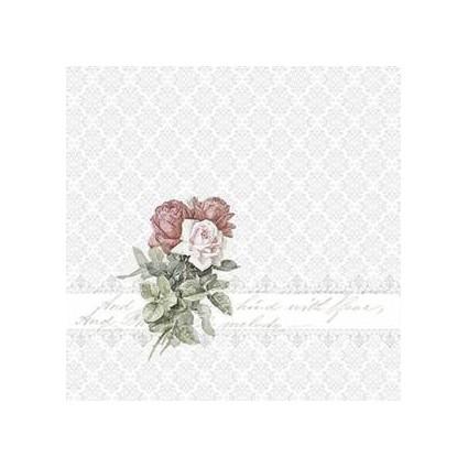 Servilleta Decoupage Rose bouquet ornament