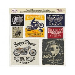 Papel Decoupage Motor Label