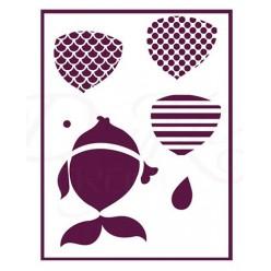 Stencil A4 Peces Tres Dimensiones