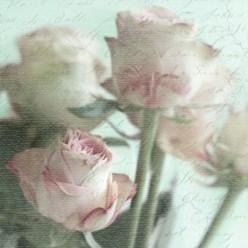 Servilleta Decoupage pink roses bouquet
