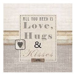 Servilleta Decoupage LOVE HUGS & KISSES