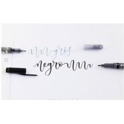rotulador fudenosuke twin punta blanda negro/gris