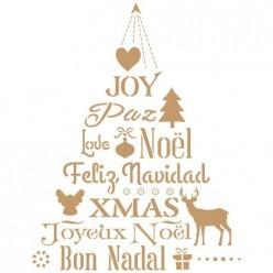 Stencil Navidad Texto arbol
