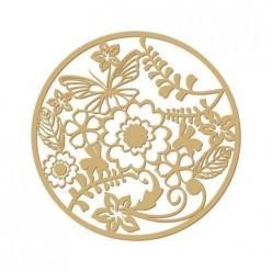 silueta floral 001 Rosetón flores (L) 13x13 cm