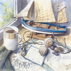 SERVILLETA 33X33CM  MARITIME SETTING ON WINDOWSILL
