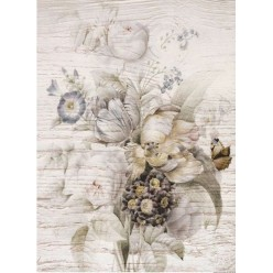 Papel Arroz soft 30 x 41 Madera bodegón flor