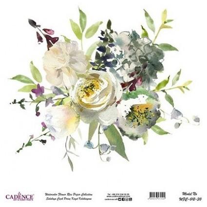 Papel Arroz Bouquet flores blancas rollo 60X60cm