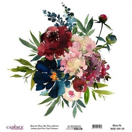 Papel Arroz Bouquet flores rojas y azules 60X60cm