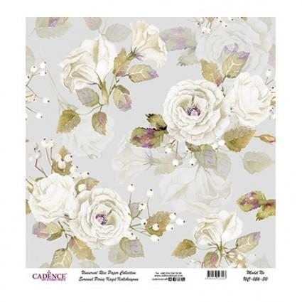Papel Arroz Fondo Gris flores blancas rollo60X60cm
