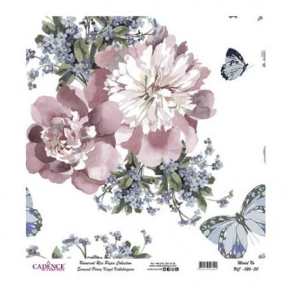 Papel Arroz Flores y mariposas rollo 60X60cm