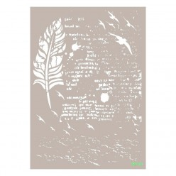 Stencil PLUMA CON TEXTO 21X30