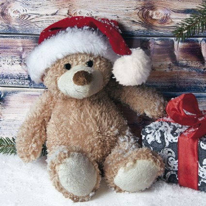 SERVILLETA 33X33CM CHRISTMAS TEDDY WITH PRESENT