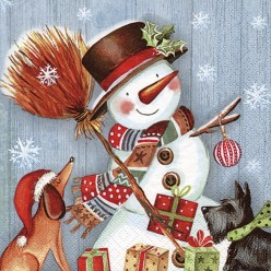SERVILLETA 33X33CM SNOWMAN WITH BROOMSTICK