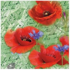 Servilleta PAINTED POPPIES GREEN