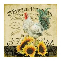 Servilleta Rooster & sunflowers 33X33CM